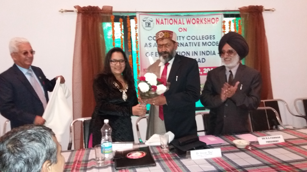 Dr. A.D. N. Bajpai-Vice Chancellor-HP University welcome by Saloni Gautam