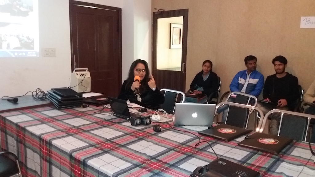 Radio Projects Cordinator, Miss Saloni giviing Self Introduction to Guests